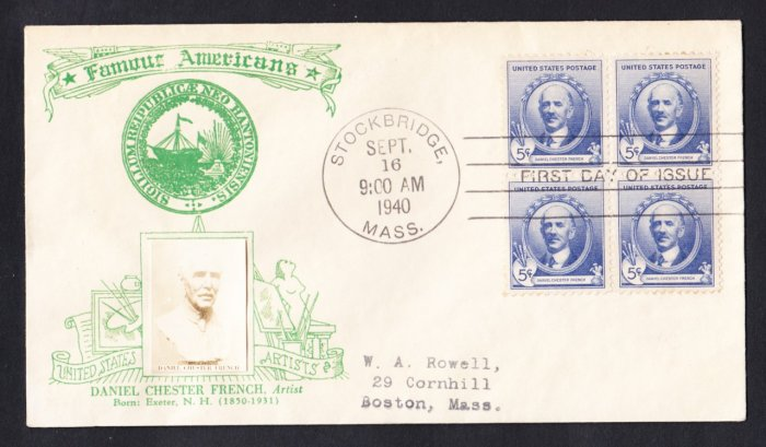 #887 DANIEL FRENCH Famous Americans Stamp CROSBY FDC