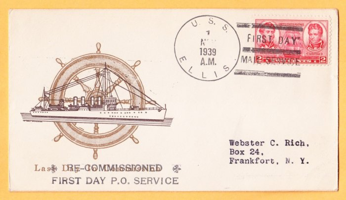 USS ELLIS DD-154 Recommissioning 1939 Naval Cover