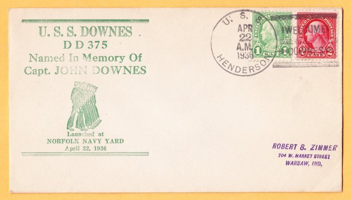 USS DOWNES Dd-375 Launching 1936 Naval Cover