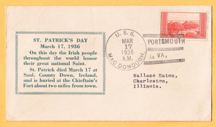 USS MacDONOUGH DD-351 St. Patrick's Day 1936 Naval Cover