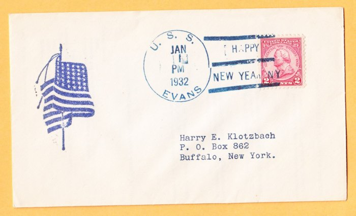 USS EVANS DD-78 New Year's 1932 Naval Cover