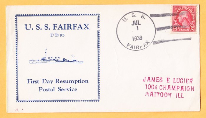 USS FAIRFAX DD-93 FDPS 1939 Naval Cover