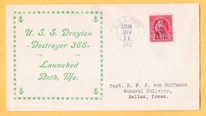 USS DRAYTON DD-366 Launching 1936 Naval Cover