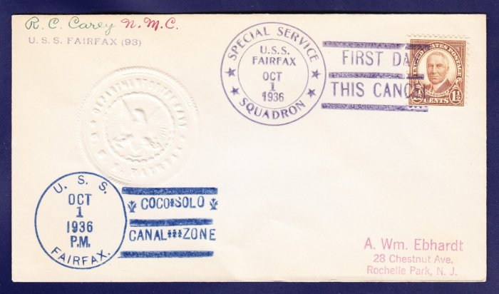 USS FAIRFAX DD-93 Fancy Cancel Coco Solo Canal Zone 1936 Naval Cover