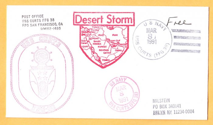 USS CURTS FFG-38 Operation Desert Storm War Zone Naval Cover