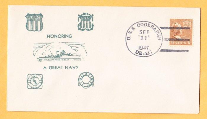 USS COOLBAUGH DE-217 Fancy Cancel 1947 Naval Cover