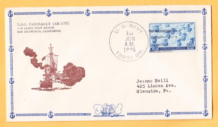 USS FARIBAULT AK-179 BR# Cancel 1946 Naval Cover