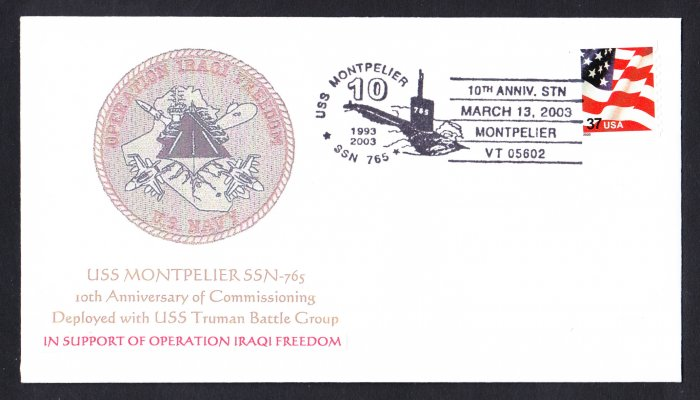USS MONPELIER SSN-765 10th Anniversary MHcachets Only 4 Made