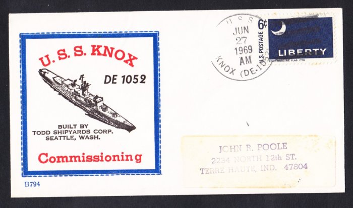 Destroyer Escort USS KNOX DE-1052 Commissioining BECK #B794 Naval Cover