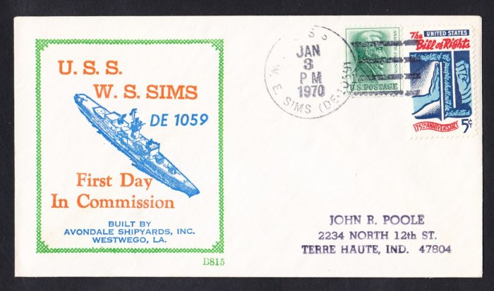 Destroyer Escort USS W.E. SIMS DE-1059 Commissioning BECK #B815 Naval Cover