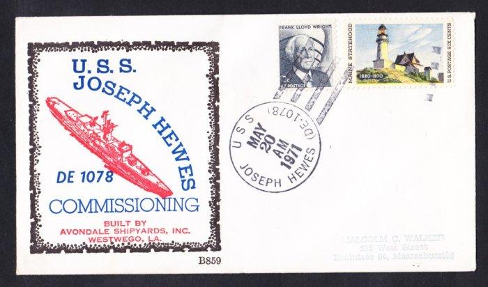 Destroyer Escort USS JOSEPH HEWES DE-1078 Commissioning BECK #B859 Naval Cover