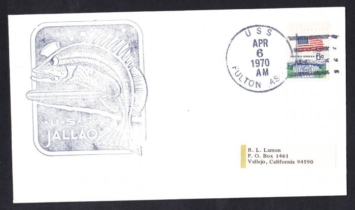 USS JALLAO SS-368 USS Fulton 1970 Naval Submarine Cover