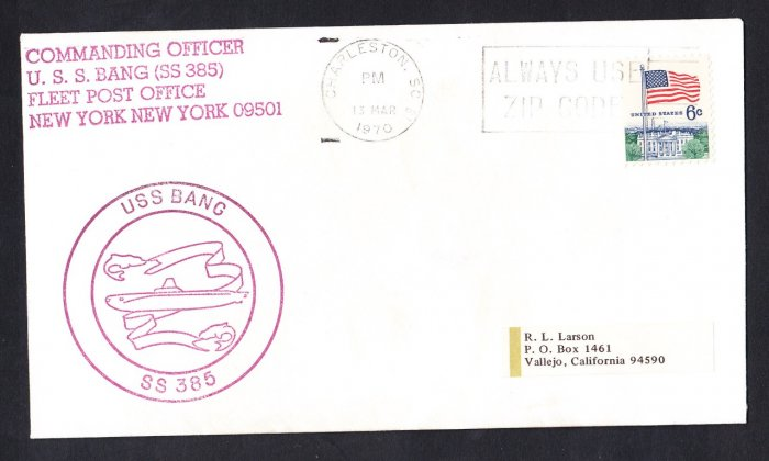 USS BANG SS-385 Charleston SC 1970 Naval Submarine Cover