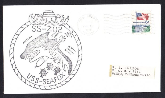 USS SEAFOX SS-402 USS Sperry 1970 Naval Submarine Cover