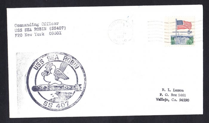 USS SEA ROBIN SS-407 Groton CT 1970 Naval Submarine Cover