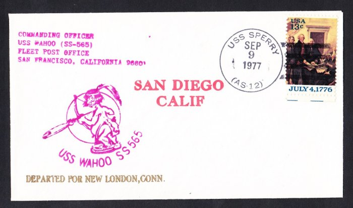USS WAHOO SS-565 San Diego to New London 1977 Naval Submarine Cover