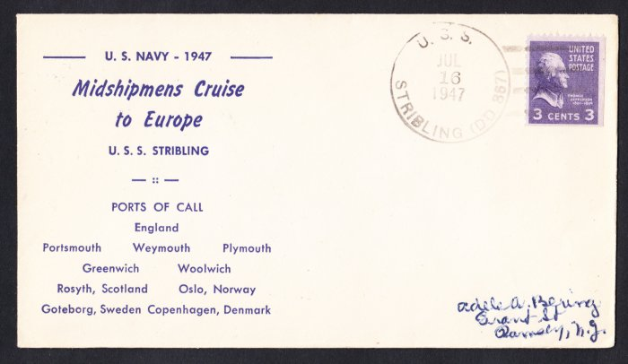 USS STRIBLING DD-867 Midshipmens Cruise 1947 Naval Cover