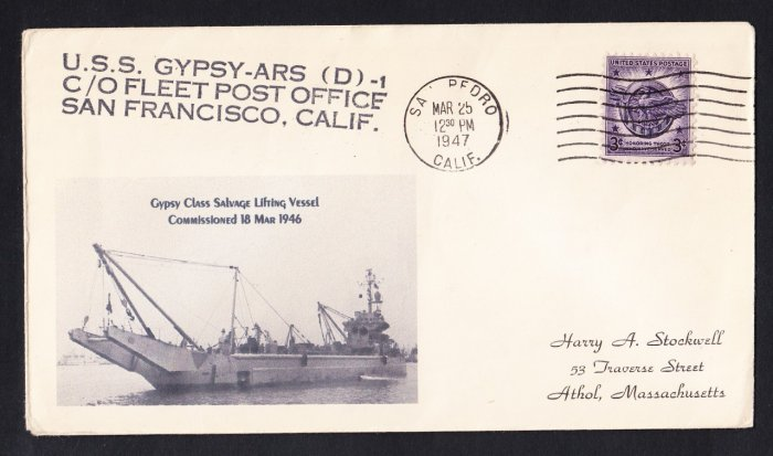 USS GYPSY ARS(D)-1 1947 Naval Cover MHCachets ONLY 1 MADE