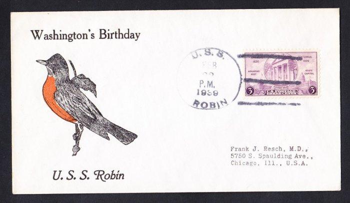 USS ROBIN AM-3 Bird Cachet 1939 Naval Cover
