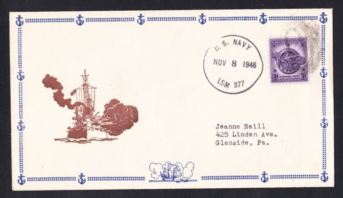 USS LSM-377 1946 Naval Cover