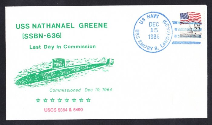 USS NATHANAEL GREENE SSBN-636 Decommissioning Naval Submarine Cover