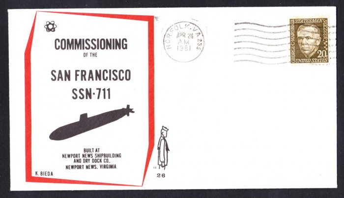 USS SAN FRANCISCO SSN-711 Commissioning Naval Submarine Cover