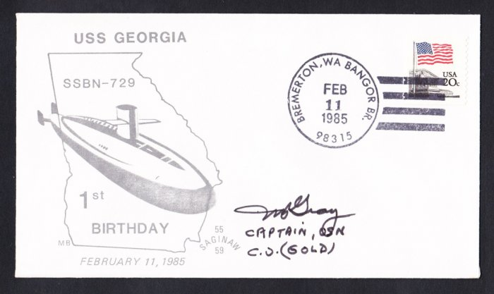 USS GEORGIA SSBN-729 CO Autograph 1st Anniversary Naval Submarine Cover