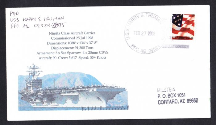 USS HARRY S. TRUMAN CVN-75 Naval Cover MHcachets ONLY 1 MADE
