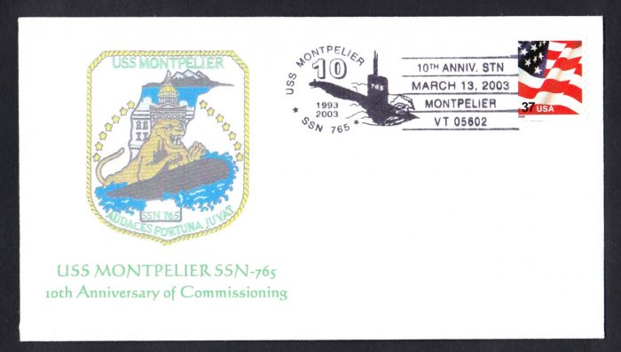 USS MONTPELIER SSN-765 10th Anniversary MHcachets ONLY 4 Made