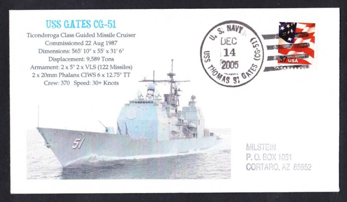 USS THOMAS S. GATES CG-51 Naval Cover MHcachets ONLY 1 MADE