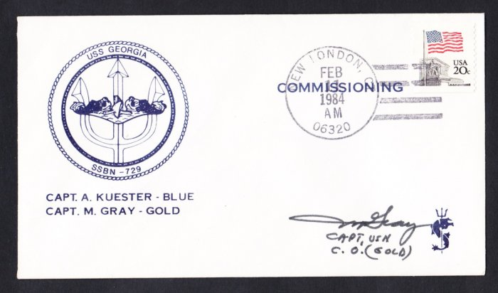 USS GEORGIA SSBN-729 CO Autograph Commissioning Naval Submarine Cover