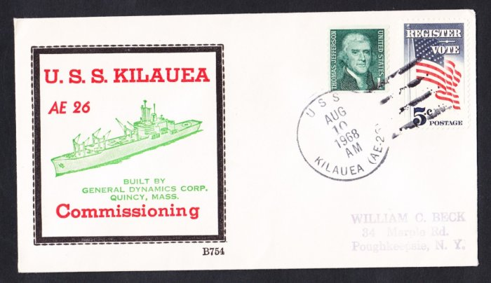 Ammunition Ship USS KILAUEA AE-26 Commissioning BECK #B754 Naval Cover
