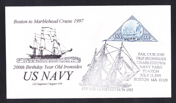 USS CONSTITUTION 1997 Boston to Marblehead Cruise Naval Cover