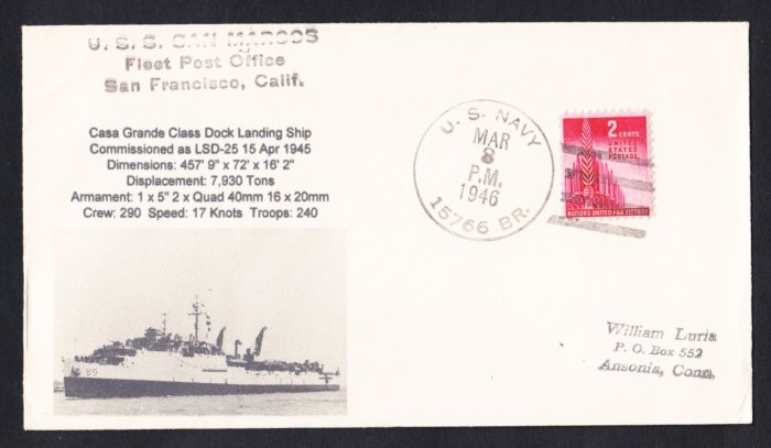 USS SAN MARCOS LSD-25 BR# Cancel 1946 Naval cover MHcachets ONLY 1 MADE