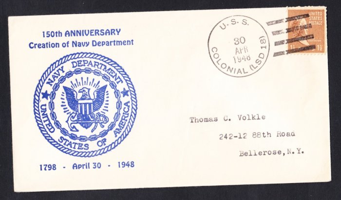 USS COLONIAL LSD-18 USN Anniversary 1948 Naval Cover