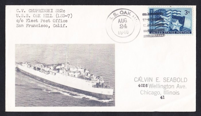 USS OAK HILL LSD-7 Type P Cancel 1946 Naval Cover MHcachets ONLY 1 MADE