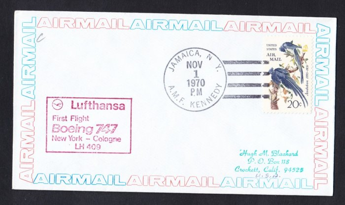 LUFTHANSA Boeing 747 NY to Cologne Germany First Flight Cover
