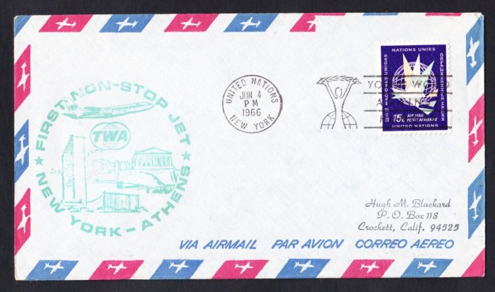 TWA NY to Athens Greece First Flight Cover