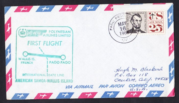 POLYNESIAN AIRLINES Pago Pago Samoa to Wallis Island First Flight Cover