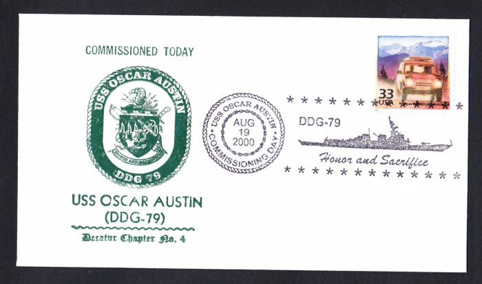 USS OSCAR AUSTIN DDG-79 Commissioning Naval Cover