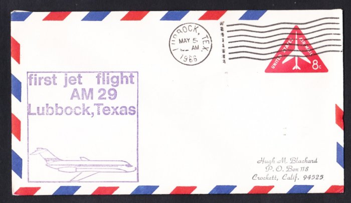 AM29 Lubbock TX to Dallas TX First Flight Cover