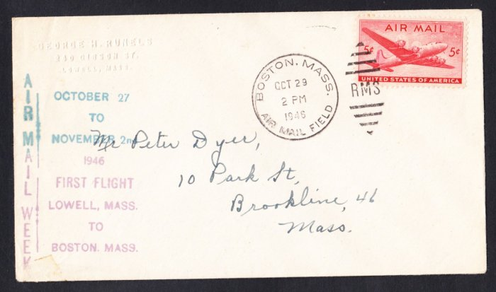 Airmail Week Lowell MA to Boston MA 1946 First Flight Cover