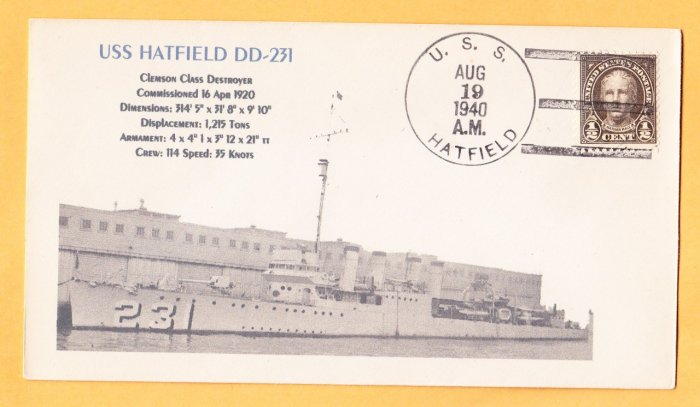 USS HATFIELD DD-231 1940 Naval Cover MHcachets ONLY 1 MADE