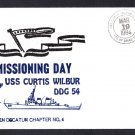 USS CURTIS WILBUR DDG-54 Commissioning Naval Ship Cover