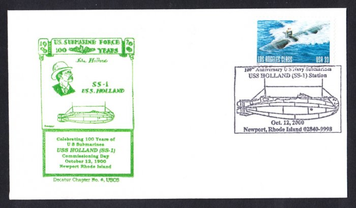 USS HOLLAND SS-1 100th Anniversary USN Submarine Naval Cover
