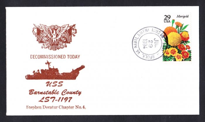 USS BARNSTABLE COUNTY LST-1197 Decommissioning Naval Cover