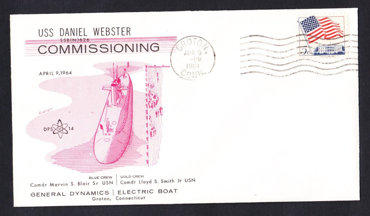USS DANIEL WEBSTER SSBN-626 Commissioning DPS Naval Submarine Cover