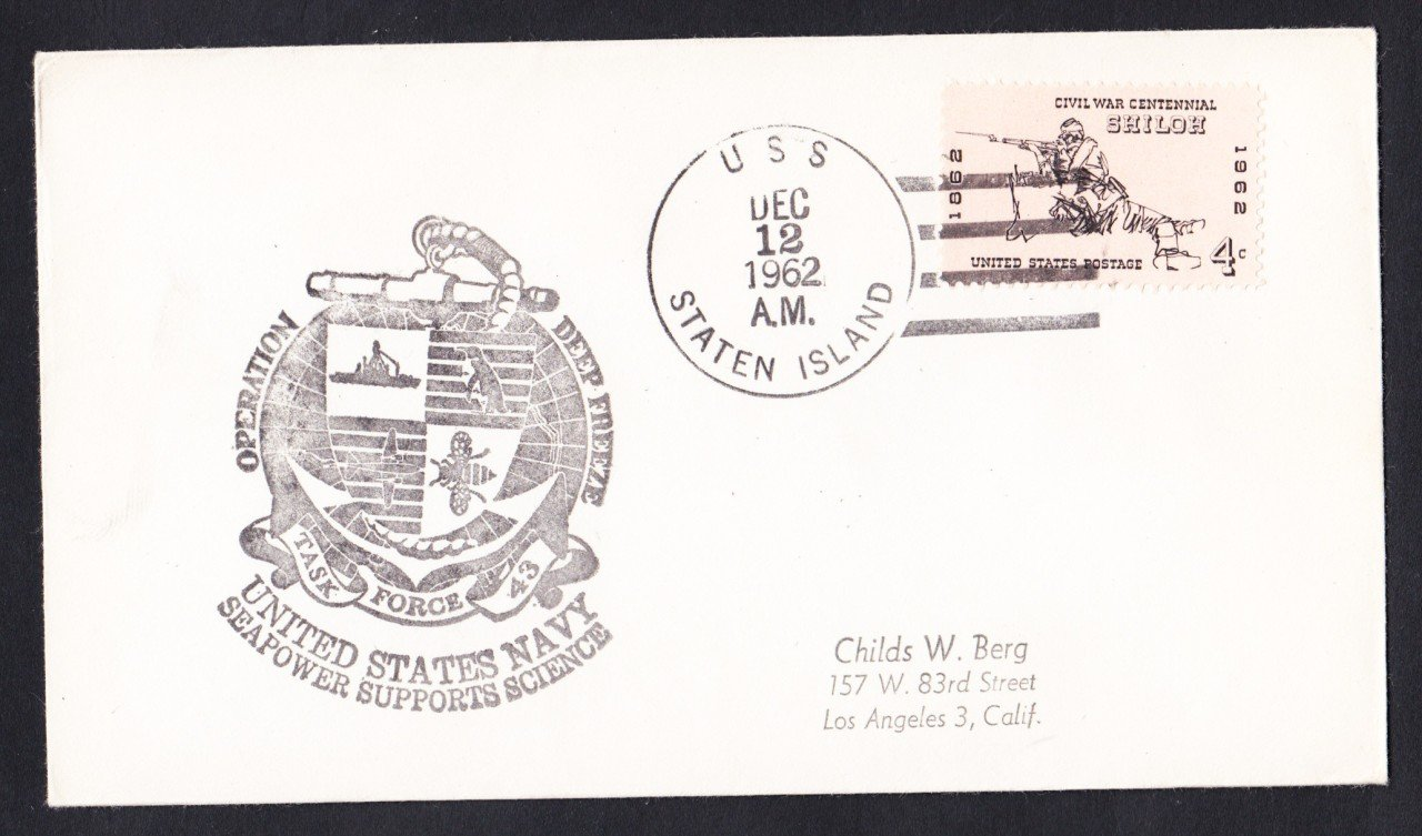 USS STATEN ISLAND AGB-5 Operation Deep Freeze 1962 Polar Cover