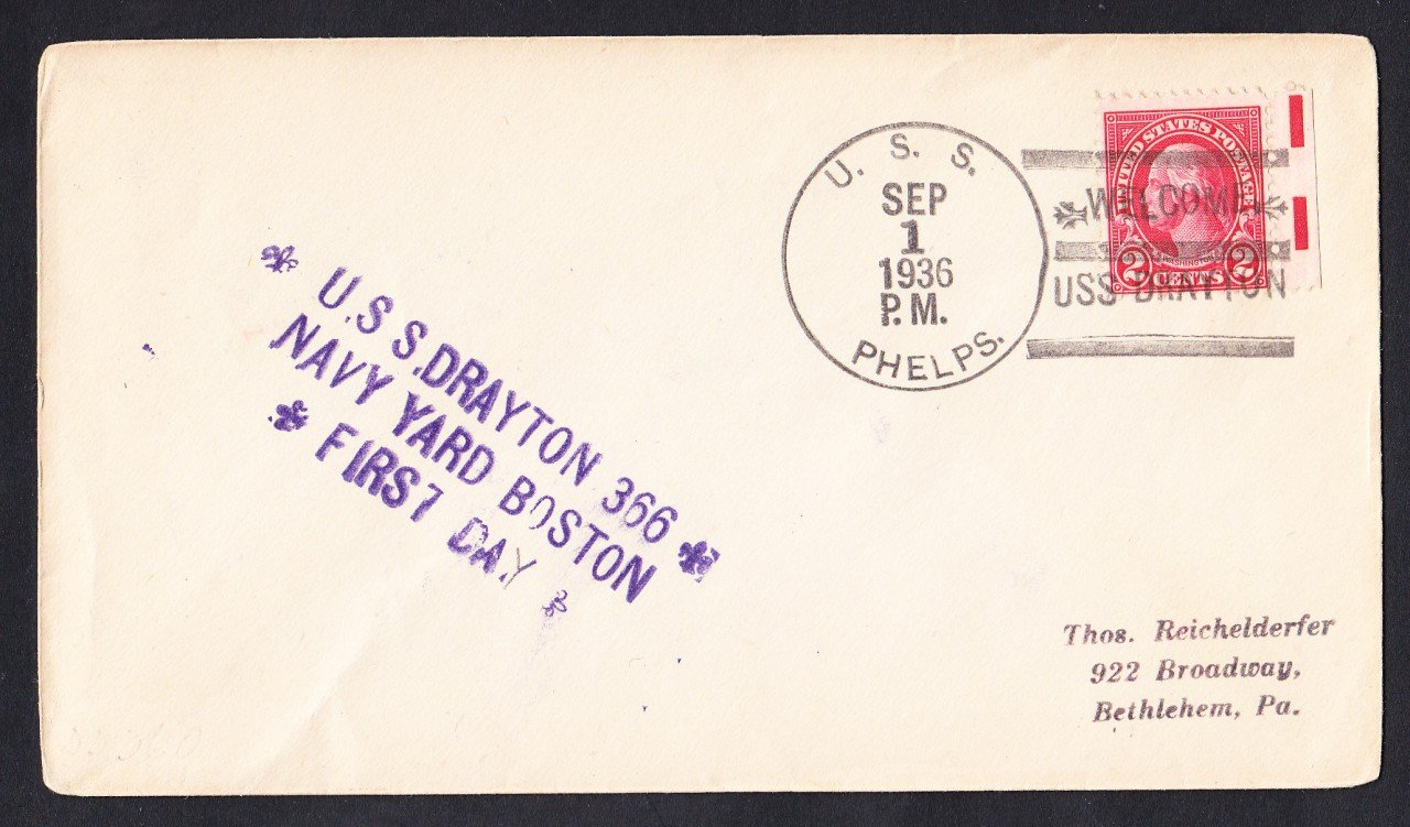 USS DRAYTON DD-366 Commissioning 1936 Naval Cover