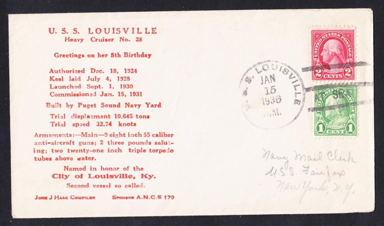USS LOUISVILLE CA-28 5th Anniversary 1936 Naval Cover